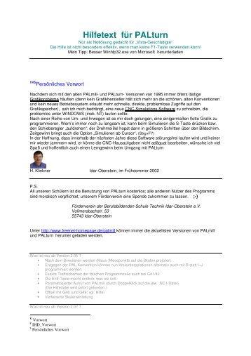 Hilfetext für PALturn - H. Klinkner