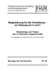 Begeisterung für die Verwaltung – - Hochschule für Wirtschaft und ...