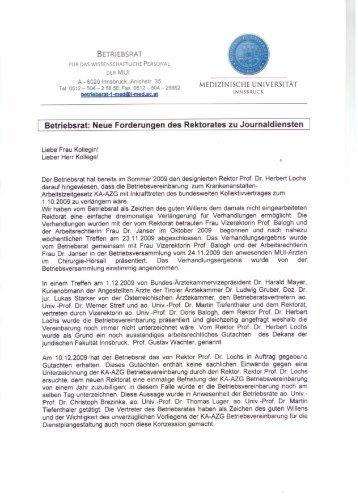 Betriebsrat: Neue Forderungen des Rektorates zu Journaldiensten
