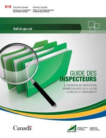 Guide des INSPECTEURS - Industrie Canada