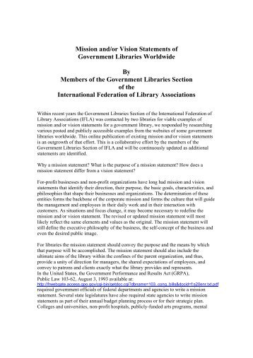 Mission and/or Vision Statements of Government Libraries ... - IFLA