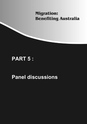 PART 5 : Panel discussions