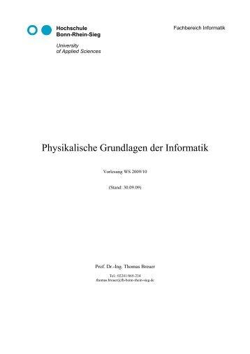 Physikalische Grundlagen der Informatik - Fachbereich Informatik ...