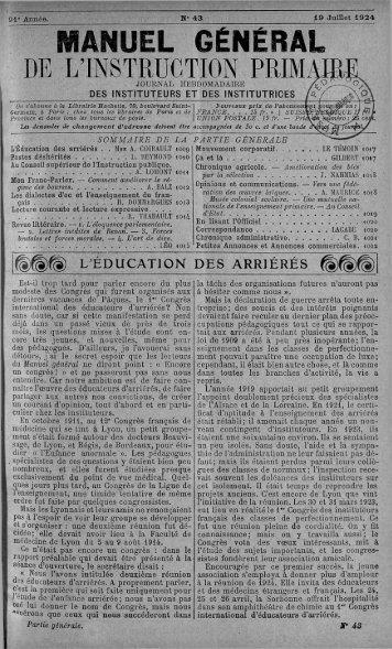 manuel général de l'instruction primaire - Institut français de l ...