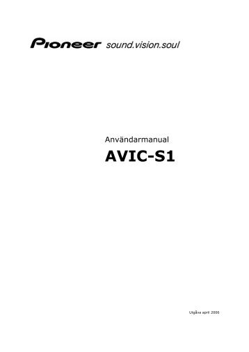 Användarmanual AVIC-S1 - Download Instructions Manuals