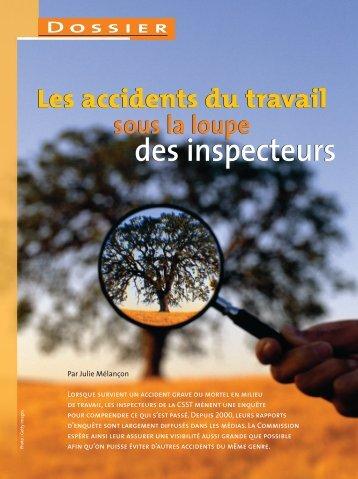 Les accidents du travail sous la loupe des inspecteurs - Irsst