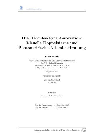 Diplomarbeit (deu) - Astrophysikalisches Institut und Universitäts ...