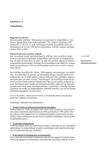 Faktaark nr. 4. - Telepolitikken.DOC - IT- og Telestyrelsen