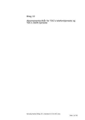 Generelle Vilkår for levering og drift af TDC's tjenester