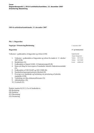 OIO-it-arkitekturkomitémøde, 13. december 2007 Pkt. 1. Dagsorden ...