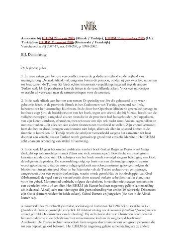 Annotatie bij EHRM 29 maart 2005 (Alinak / Turkije), EHRM ... - IViR