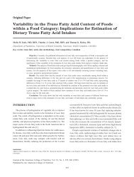 Variability in the Trans Fatty Acid Content of Foods within a Food ...