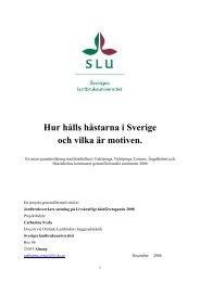 Hur hålls hästarna i Sverige och vilka är motiven. - Jordbruksverket