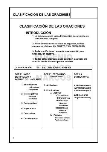 clasificación de las oraciones - Junta de Andalucía