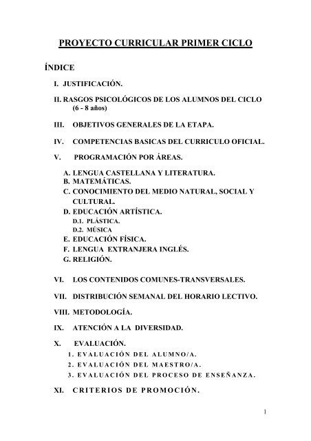 Proyecto Curricular Primer Ciclo índice Junta De Andalucía