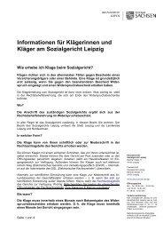 Informationen für Klägerinnen und Kläger am ... - Justiz in Sachsen