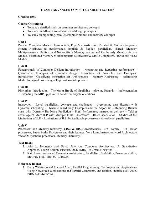 11cs310 Advanced Computer Architecture Credits 4 0 0