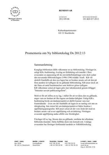 remissvar - Kungliga biblioteket