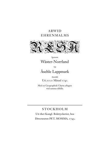 Arwid Ehrenmalms Resa igenom Wäster-Norrland til Åsehle