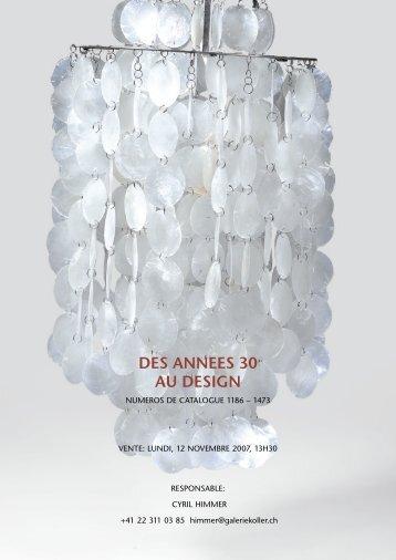 DES ANNEES 30 AU DESIGN - Koller Auktionen