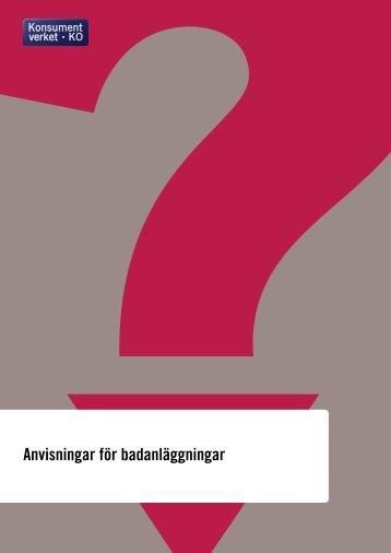 Anvisningar för badanläggningar - Konsumentverket