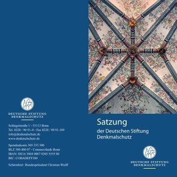 Satzung - Deutsche Stiftung Denkmalschutz