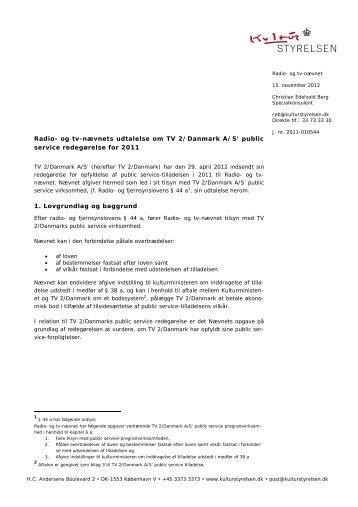 Radio- og tv-nævnets udtalelse om TV 2/Danmark ... - Kulturstyrelsen