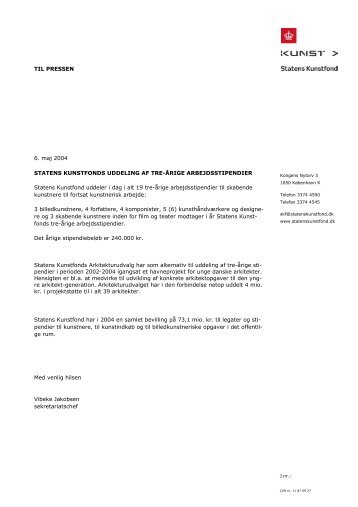 TIL PRESSEN 6. maj 2004 STATENS KUNSTFONDS ... - Kunst.dk