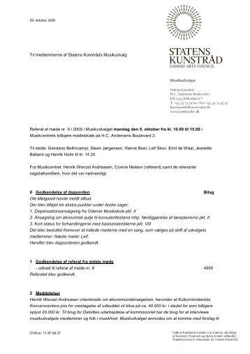 Til medlemmerne af Statens Kunstråds Musikudvalg ... - Kunst.dk
