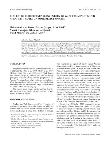RESULTS OF HERPETOFAUNAL INVENTORY OF WADI ... - Lacerta