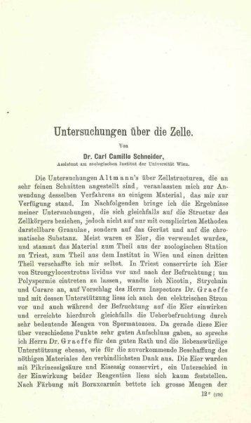 Untersuchungen über die Zelle.