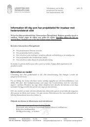 Information till dig som har projektstöd för insatser ... - Länsstyrelserna
