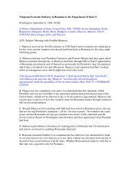 Telegram From the Embassy in Romania to the ... - Larry L. Watts