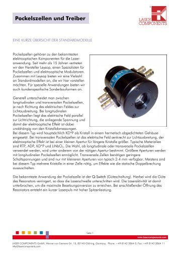 Pockelszellen und Treiber - Laser Components