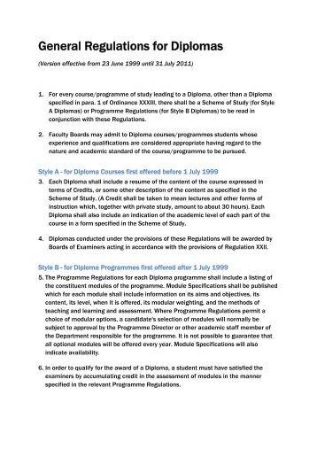 General Regulations for Diplomas