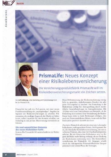 Ganzseitiger Faxausdruck - Prismalife AG