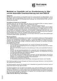 Merkblatt zur Sozialhilfe und zur Grundsicherung im ... - Stadt Leipzig