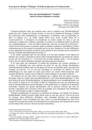 """Texte pour la rubrique """"Échanges"""" de la Revue Questions de ..."""