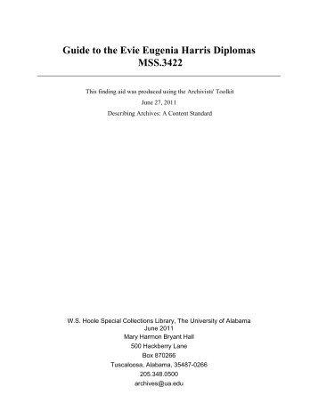 Guide to the Evie Eugenia Harris Diplomas MSS.3422 - University of ...
