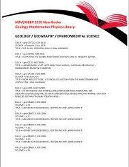 NOVEMBER 2010 New Books Geology-Mathematics-Physics Library