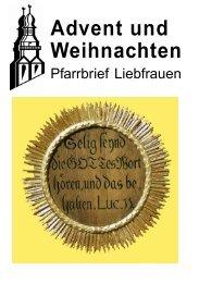 Advent und Weihnachten - Katholische Pfarrgemeinde Liebfrauen