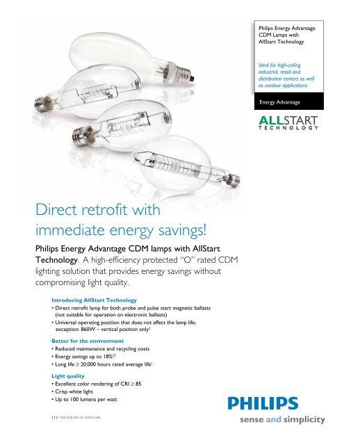 Direct retrofit with immediate energy savings! - Philips Lighting