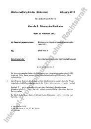 3. Bildung von Haushaltsausgaberesten im Jahr 2011 - Lindau