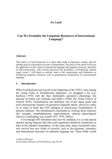 Can We Formalise the Linguistic Resources of Interactional ...