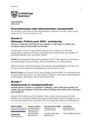 2009-10-22 Inför nämndens sammanträde - Linköpings kommun