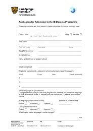 Application for Admission to the IB Diploma Programme