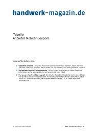 Tabelle Anbieter Mobiler Coupons - Handwerk-Magazin