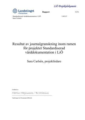 Rapport från journalgranskning - Landstinget i Östergötland