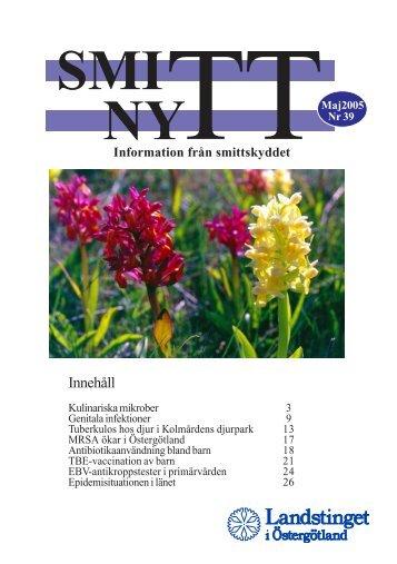 SmittNytt nr 39 maj 2005.pdf - Landstinget i Östergötland
