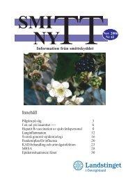 SmittNytt nr 42 nov 2006.pdf - Landstinget i Östergötland
